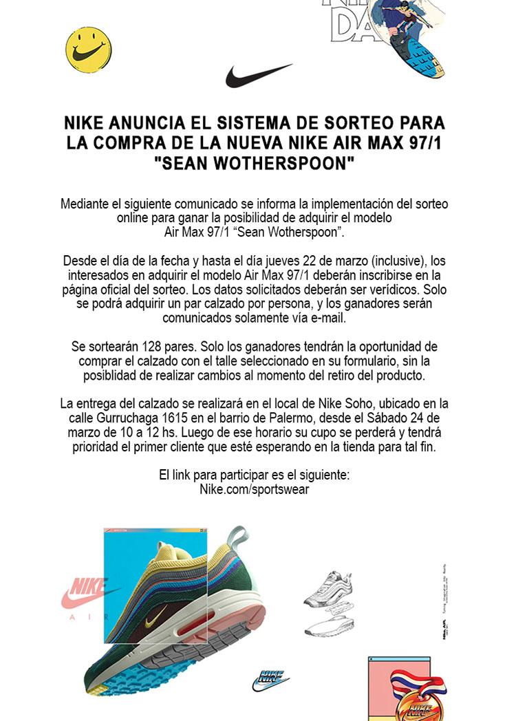 Rascacielos Aplicar Traducción  Comunicado oficial de Nike sobre el sorteo de las Air Max 97/1 «Sean  Wotherspoon»   SneakerHead Argentina