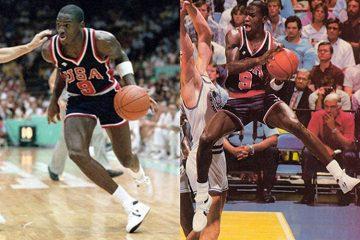 Michael Jordan jugando con zapatillas Converse
