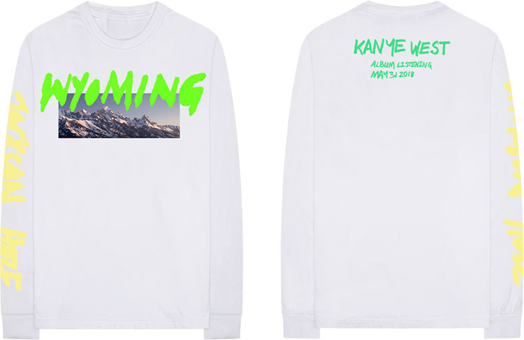 Kanye West - YE Merch Wyoming - remera blanca manga larga