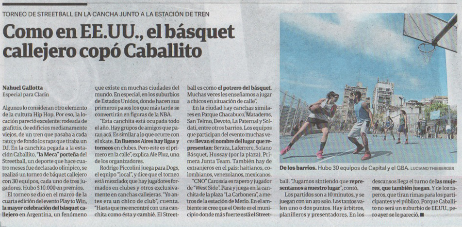Nota Clarín - Basket callejero Play to Win