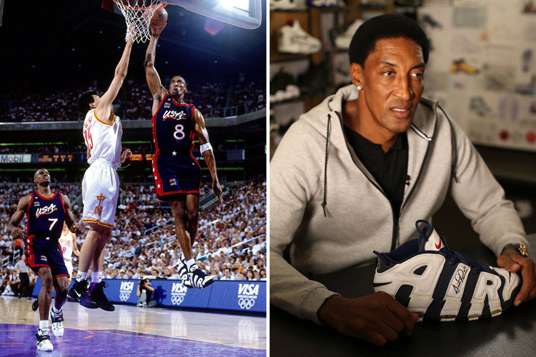 "Scottie Pippen con las Nike Air More Uptempo ""Olympic"""