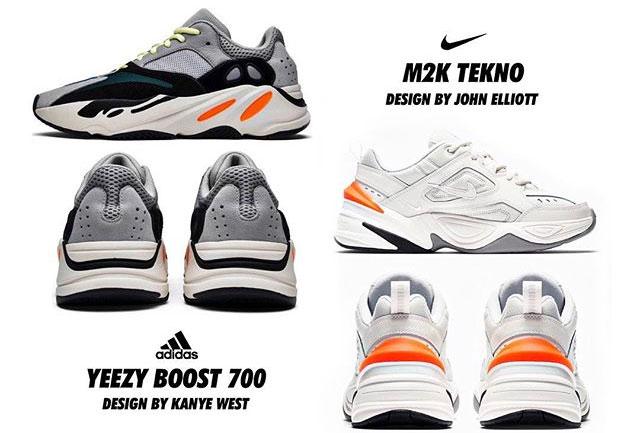 adiads Yeezy 700 vs Nike m2k tekno